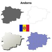 Andorra outline map set — Stock Vector