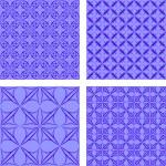 Blue seamless gothic wallpaper set — Stock Vector