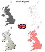 United Kingdom outline map set — Stockvector