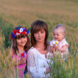 Mother and daughters in a field of wheat — Stock Photo #50881255