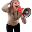 Attractive girl with megaphone. — Stock Photo #50882217