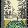 DDR stamp shows sketch and map of Tiefurt park — Stock Photo #50885499