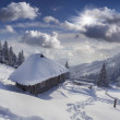 Hut covered with snow in the mountains — Stock Photo #50886857