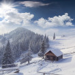 Hut covered with snow in the mountains — Stock Photo #50888977