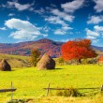Autumn panorama of the mountain village — Stock Photo #50889359