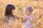 Sisters in the field of wheat — Stock Photo