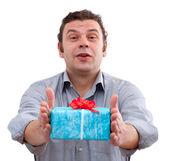 Man die doos van de gift — Stockfoto