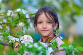 Young girl in a blossom apple garden — Stock Photo