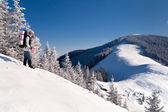 Girl in the mountains at winter — Stock Photo