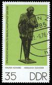 DDR stamp shows sculpture of Hermann Duncker — Stock Photo