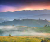 Foggy sunrise in the mountains. — Stock Photo