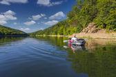 Summer trip on the river by canoe — Foto de Stock