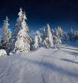 Night winter landscape in the mountains — Foto Stock
