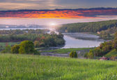 Morning landscape of the lake in Ternopil city — Stock Photo