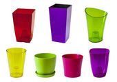 Plastic flower pots — Stock Photo