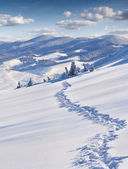 Trail in deep snow in mountains — ストック写真