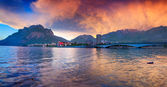Sunset in the Lecco Lake — Foto de Stock