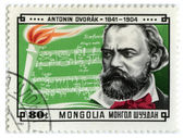 Mongolia stamp  shows famous composer Antonin Dvorak — Stock Photo