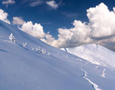 Trail in deep snow in mountains — Stockfoto