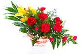 Bright flower bouquet in basket — Stock Photo