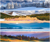Set of the 4 seasons landscape — Stock Photo
