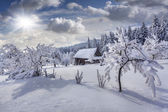Winter fairytale in the mountain village — Stock Photo