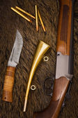 Rifle, knife and horn — Stock Photo