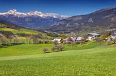 Alpine meadows near the village Uvernet-Fours — Stock Photo