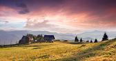 Mountains village at sunset — Stockfoto