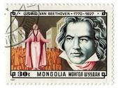 Mongolia stamp with Ludwig van Beethoven — Zdjęcie stockowe