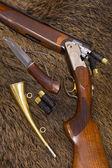 Shotgun, cartridges, knife and horn — Stock Photo