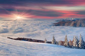 Winter sunrise in mountains. — Stock Photo