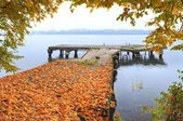 Autumn in the sity on the quay — Stock Photo