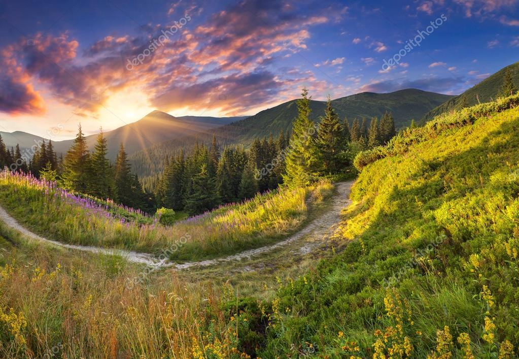 Quatre scènes de coucher de soleil à la campagne ...