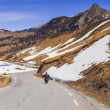 Постер, плакат: Riding on the motorbike of the pass Col de Vars