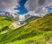 Alpejskie łąki u podnóża lodowca tetnuldi — Zdjęcie stockowe