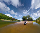Trip on the river by canoe — Stock Photo