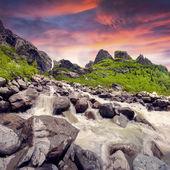 Starting river from the Ushba glacier — Stock Photo