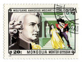 Mongolia stamp with Wolfgang Amadeus Mozart — Stock Photo