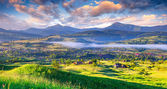 Beautiful summer landscape in the mountain village. — Stock Photo