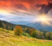 Herbstliche landschaft in den bergen — Stockfoto