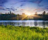 Paisaje de verano en el lago. — Foto de Stock