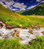 Fantástica paisagem com um rio nas montanhas. — Fotografia Stock