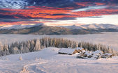 Foggy winter sunrise in the mountains — Stock Photo