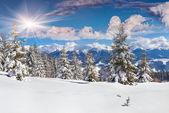 Winterlandschap in bergen — Stockfoto