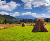 Hay in a village in the mountains — Stock Photo