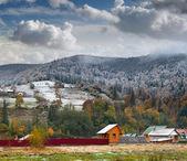 Sparren sneeuw in de bergen-dorp — Stockfoto