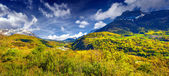 Panorama of the alpine meadows. — Stock Photo