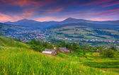 Summer landscape in the mountain village. — Stock Photo