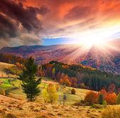 Pôr do sol de outono nas montanhas — Foto Stock